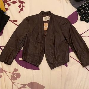 Rachel Roy cropped brown leather jacket